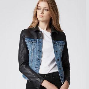 BLANKNYC Arachnophobia Faux Leather Denim Jacket S